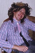 Stan drunk at Fairmont - photo by Feargal Sharkey - many colors in long, big hair - 1987