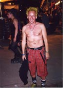 tennis ball yellow and no shirt (duh!) at Goth Festival in Germany - 2000